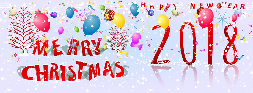 Merry Christmas and Happy New Year 2018 Facebook cover photo